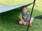 "William in a ""Flying Diamond"" using the hammock tarp"